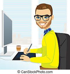 Un diseñador gráfico Hipster trabajando