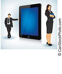 Un dispositivo de tablilla con gente de negocios