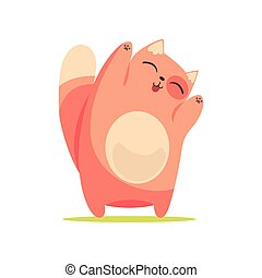 Un divertido gato rojo con patas levantadas, lindo vector de personaje de dibujos animados: Ilustración