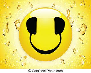 Un DJ sonriente con notas musicales y estrellas.