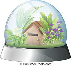 Un domo con una casa nativa dentro