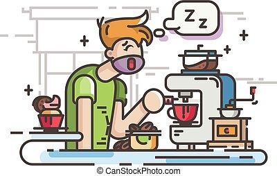 Un dormilón haciendo café