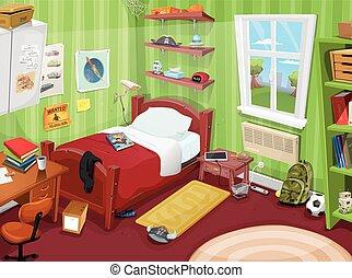 Un dormitorio de niños o adolescentes