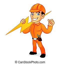 Un electricista con un rayo