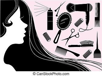 Un elemento de belleza del estilo del pelo. Salón del vector