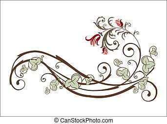 Un elemento de diseño con flores y hiedra