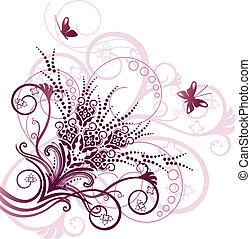 Un elemento de diseño floral rosa