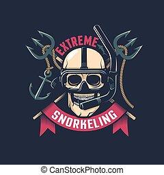 Un emblema de buceo antiguo con cráneo en una máscara y snorkel