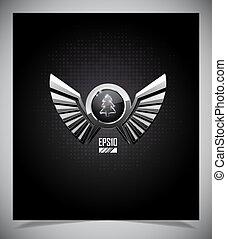 Un emblema de metal con alas