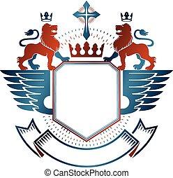 Un emblema gráfico con el elemento animal herádico de León, corona real y cruz religiosa. Logo decorativo heráldico de armas ilustración aislada de vectores.