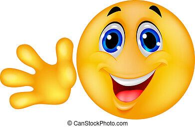 Un emoticon sonriente con la mano