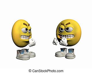 Un emoticono furioso discute.