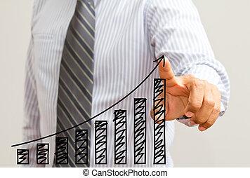 Un empresario dibujando un gráfico de crecimiento