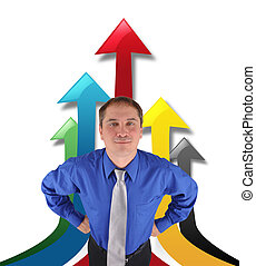 Un empresario exitoso con flechas