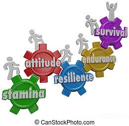 Un equipo de personas marchan engranajes marcados con palabras Stamina, Attitude, Resiliencia, Resistencia y Supervivencia para ilustrar sobrepasar y sobrevivir un desafío, dificultad o problemas