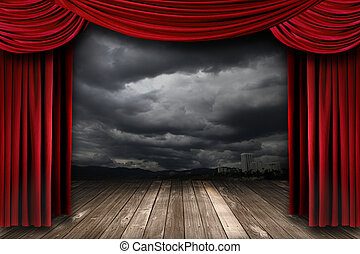 Un escenario brillante con cortinas de terciopelo rojo