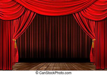 Un escenario de teatro elegante y rojo