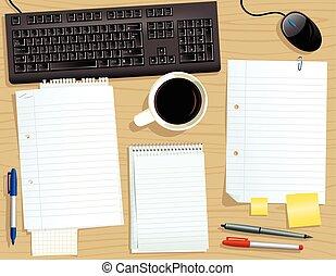 Un escritorio con papeles sueltos