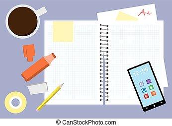 Un escritorio de estudio desordenado