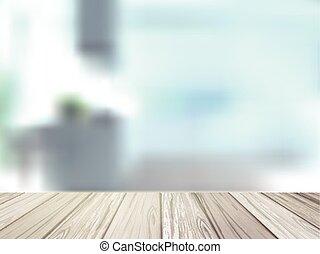 Un escritorio de madera sobre una escena interior borrosa