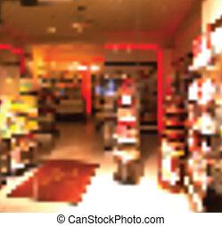 Un escritorio oscuro de espacio libre e interior de una tienda. La tienda de vectores tiene antecedentes borrosos