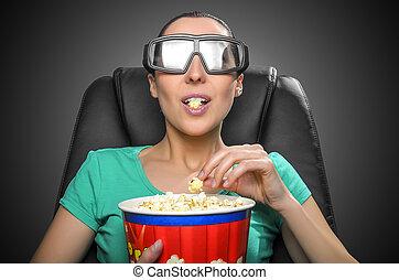 Un espectador viendo cine 3D.