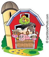 Un establo con varios animales de granja