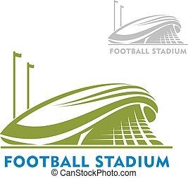Un estadio de fútbol con banderas