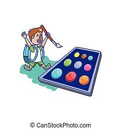Un estudiante con bolsas y colores de paleta