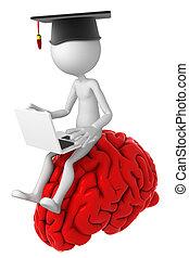 Un estudiante con una laptop en el cerebro