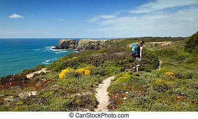 Un excursionista en camino de montaña