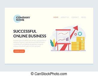 Un exitoso concepto de estrategia de estrategia. Diseño gráfico página web plana web de dibujos animados cargando estandartes