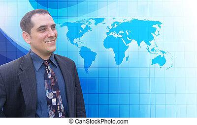 Un exitoso hombre de negocios con visión azul