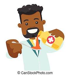 Un farmacéutico africano vertiendo jarabe para la tos en cuchara.