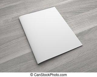 Un folleto de ilustración 3D en blanco o una revista sobre antecedentes de madera.