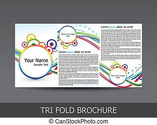 Un folleto de tri dobles de colores abstractos