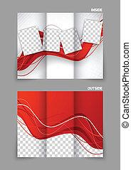 Un folleto de tri-paletas onduladas rojas