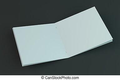 Un folleto en blanco, una revista, una maqueta de folletos aislada en el fondo oscuro. 3D