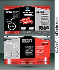 Un folleto rojo y negro