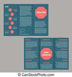 Un folleto tri-pliegado con puntos rojos