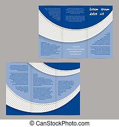 Un folleto tri-pliegado de folletos con olas azules