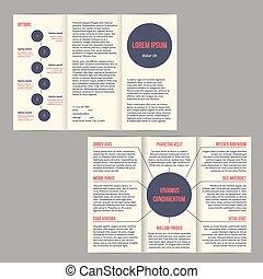Un folleto triple con puntos y opciones