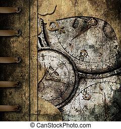 Un fondo abstracto con relojes antiguos
