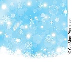 Un fondo abstracto de Navidad con copos de nieve, estrellas