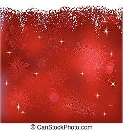 Un fondo abstracto rojo con estrellas y copos de nieve. Genial para los temas de Navidad o invierno.