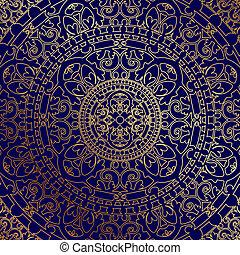 Un fondo azul con adornos de oro