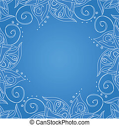Un fondo azul con adornos florales