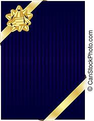 Un fondo azul con arco dorado