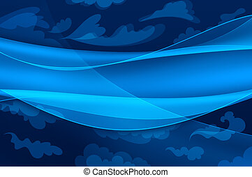 Un fondo azul, olas abstractas y nubes estilizadas