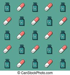 Un fondo colorido con un patrón de frascos de medicina y pastillas animadas